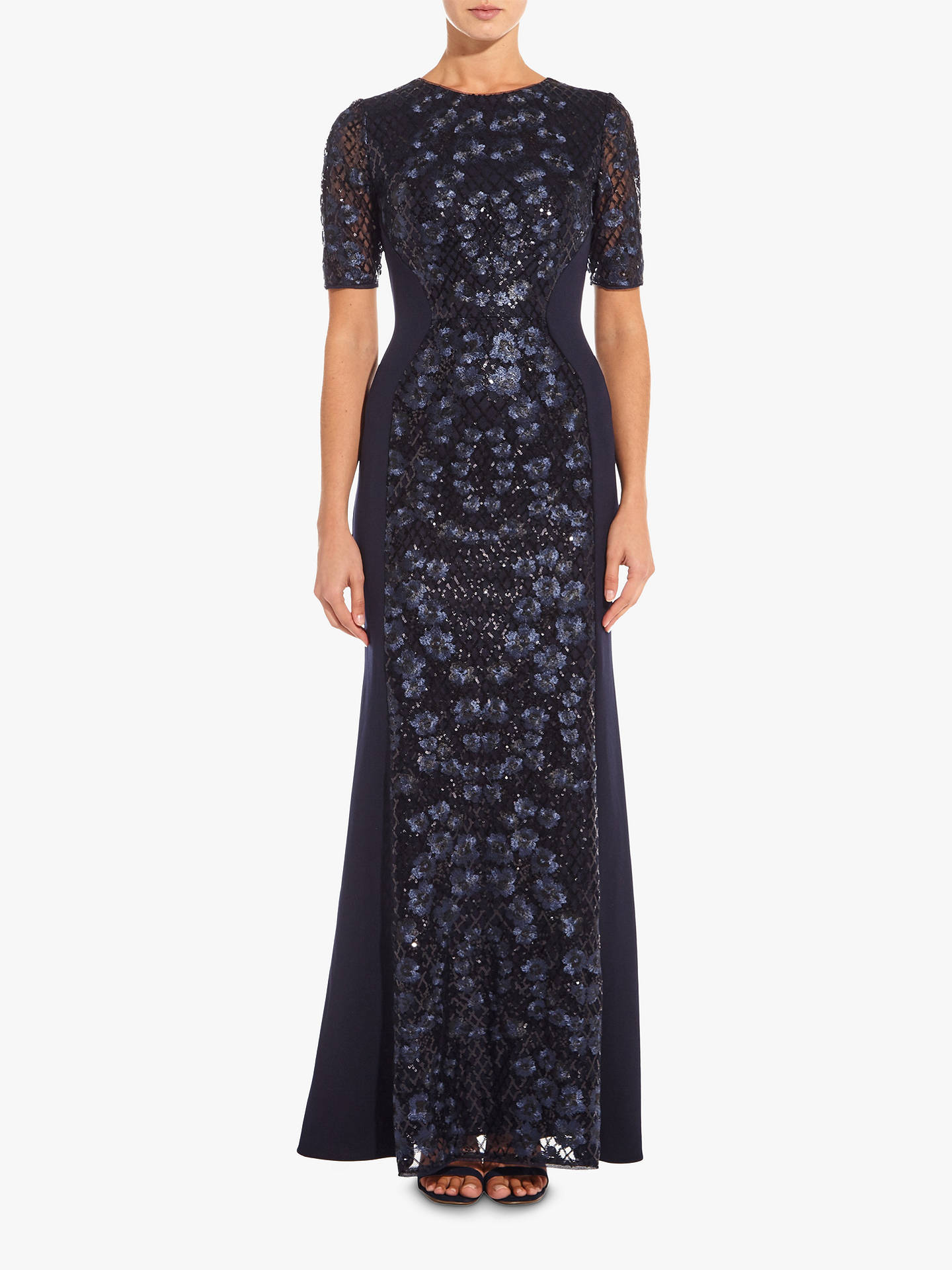 BuyAdrianna Papell Knit Sequin Maxi Dress, Midnight, 8 Online at johnlewis.com