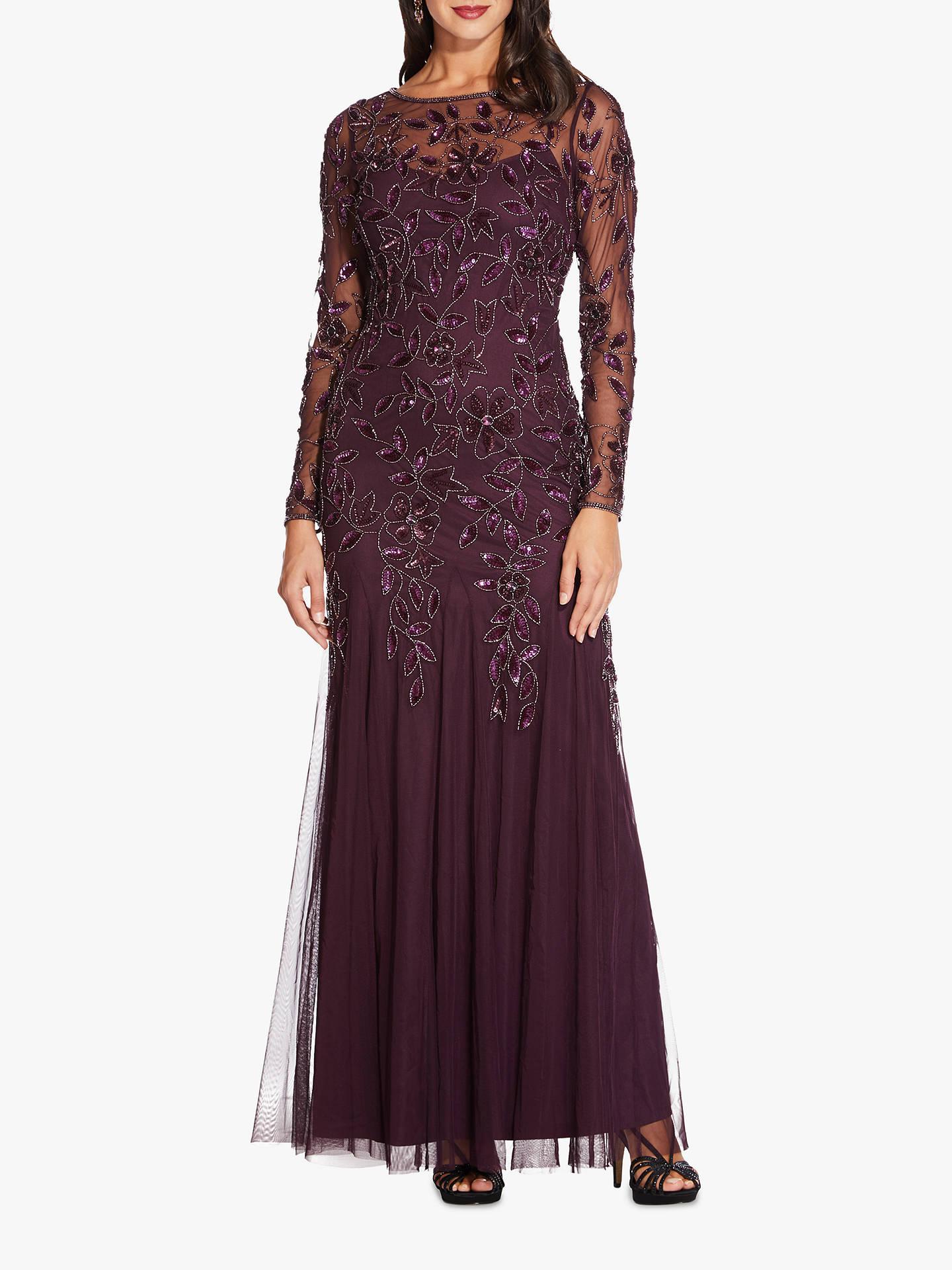 4c2ee363 Adrianna Papell Beaded Long Leaf Dress, Night Plum at John Lewis ...