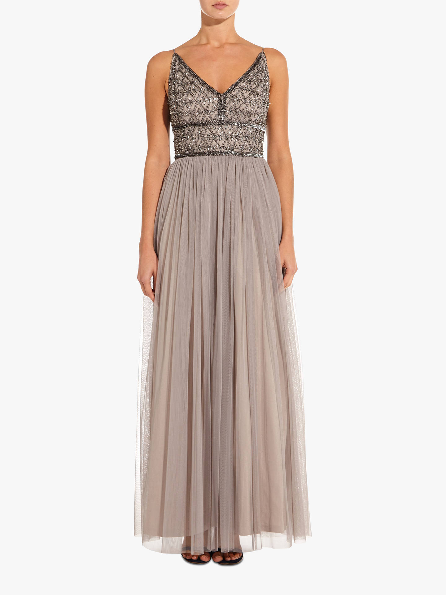 9dc6a17ce Buy Adrianna Papell Beaded Bodice Maxi Dress, Platinum, 6 Online at  johnlewis.com ...