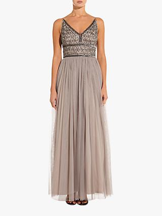 Adrianna Papell Beaded Bodice Maxi Dress, Platinum