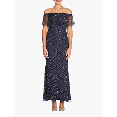Adrianna Papell Off Shoulder Dress, Navy