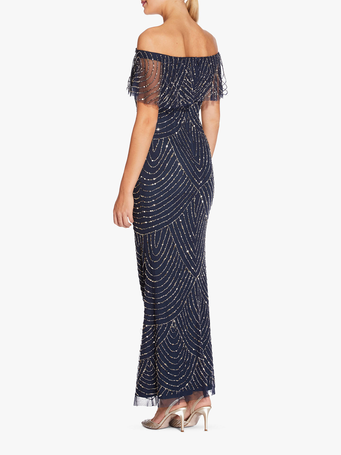 Buy Adrianna Papell Off Shoulder Dress, Navy, 8 Online at johnlewis.com