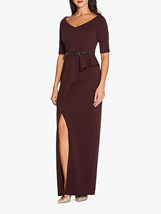 Adrianna Papell Long Knit Embellished Waist Dress, Blackberry Wine