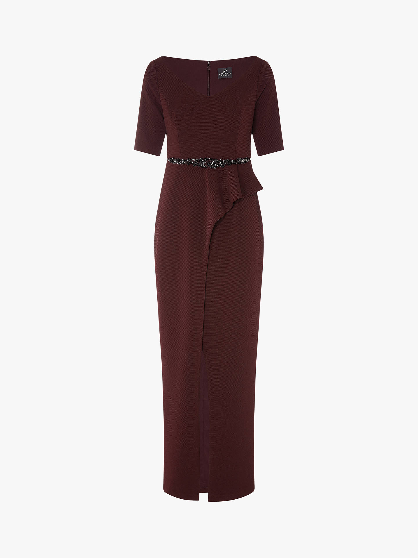 BuyAdrianna Papell Long Knit Embellished Waist Dress, Blackberry Wine, 10 Online at johnlewis.com
