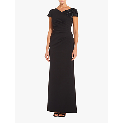 Adrianna Papell Long Ottoman Dress, Black