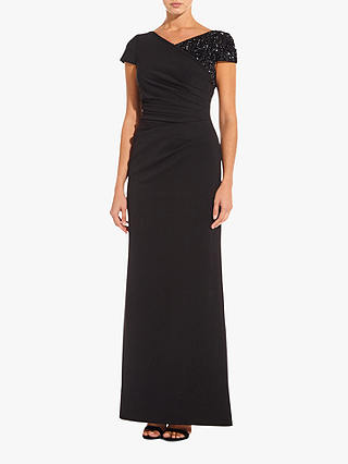 Buy Adrianna Papell Long Ottoman Dress, Black, 6 Online at johnlewis.com