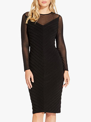 Buy Adrianna Papell Mitered Pintuck Dress, Black, 18 Online at johnlewis.com