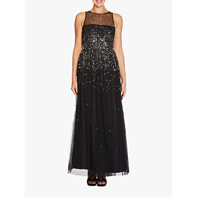 Adrianna Papell Beaded Maxi Dress, Black/Mercury
