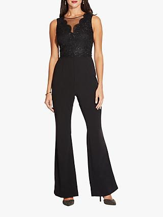 Adrianna Papell Crepe Lace Shimmer Jumpsuit, Black