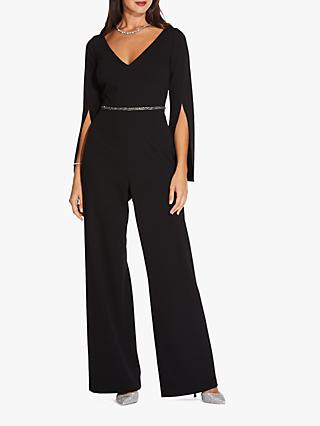 Adrianna Papell V-Neck Crepe Jumpsuit, Black