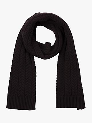 French Connection Rita Cable Knit Scarf, Black