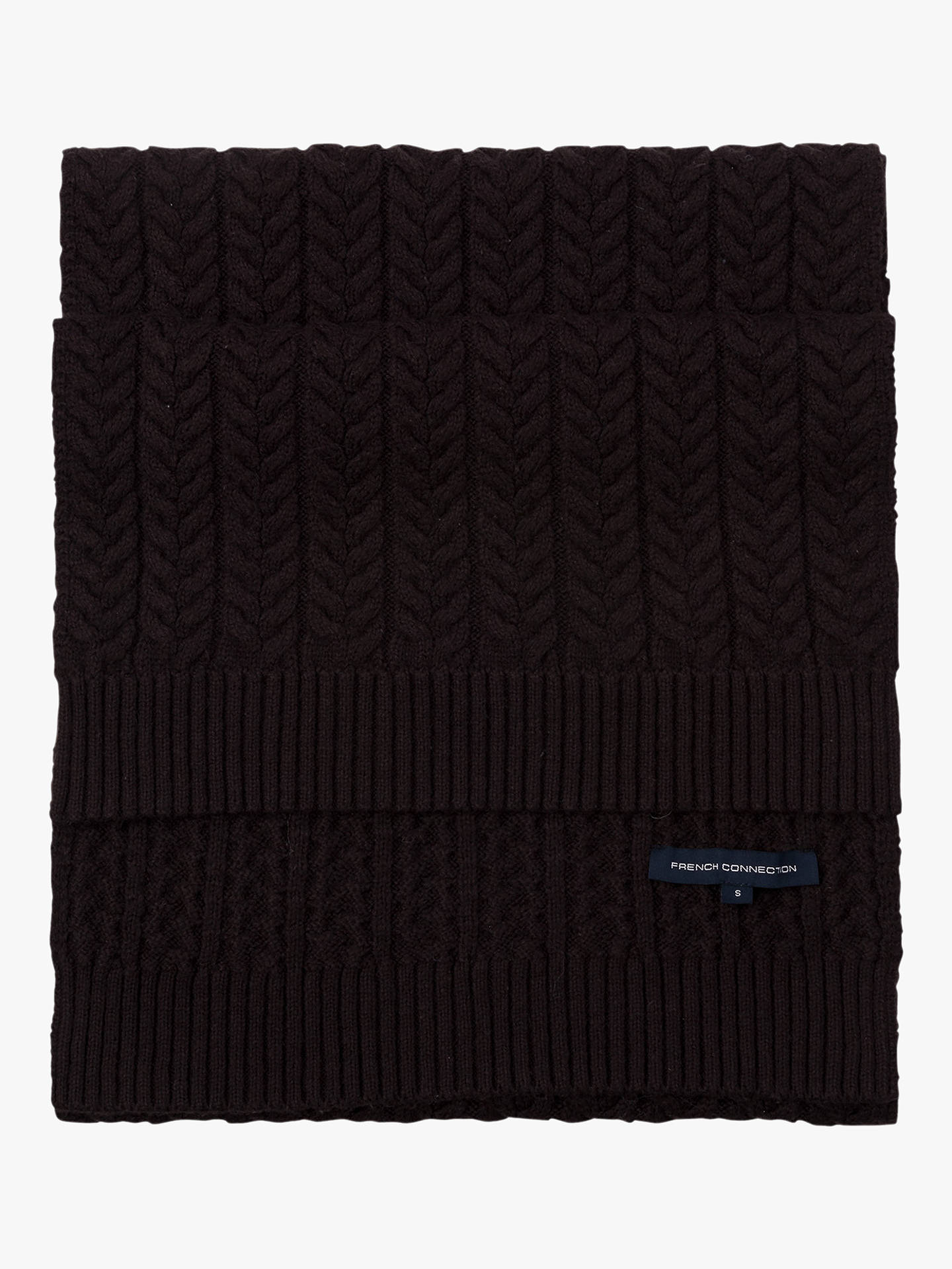 3ba75aa79f7e4 Buy French Connection Rita Cable Knit Scarf, Black, One Size Online at  johnlewis.
