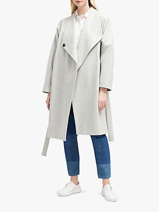 French Connection Drop Shoulder Wrap Coat, Dove Grey