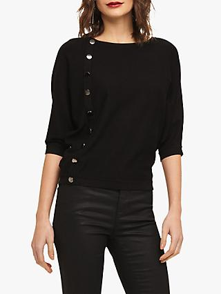 Phase Eight Natka Button Knit, Black
