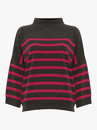 Phase Eight Shanelle Knit Jumper, Charcoal/Pink