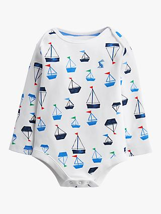 Baby Joule Snazzy Boats Bodysuit, White
