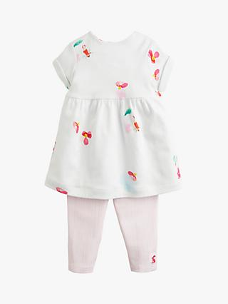 Baby Joule Seren Floral Dress and Leggings Set, White/Pink