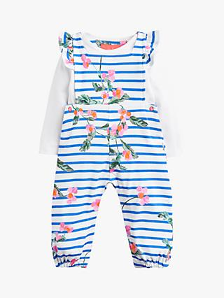 Baby Joule Eliza Dungaree and T-Shirt Set, White Stripe