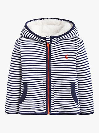 Baby Joule James Stripe Reversible Jacket, White/Navy