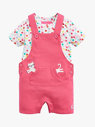 Baby Joule Misha Jersey Dungaree Set, Pink
