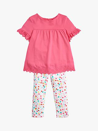 Baby Joule Nell Lace Spot Top and Leggings Set, Bright Pink