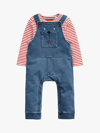 Baby Joule Wilber Jersey Denim Dungaree and T-Shirt Set, Blue