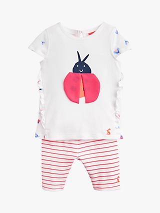 Baby Joule Paula Ladybird Jersey Top And Legging Set, White/Pink