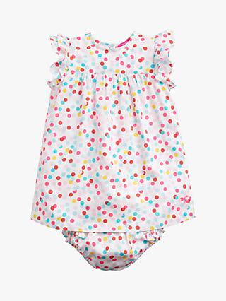 Baby Joule Betty Spot Dress and Knickers Set, White/Multi