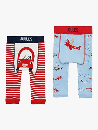 Baby Joule Lively Legs Car Leggings, Pack of 2, Red/Multi