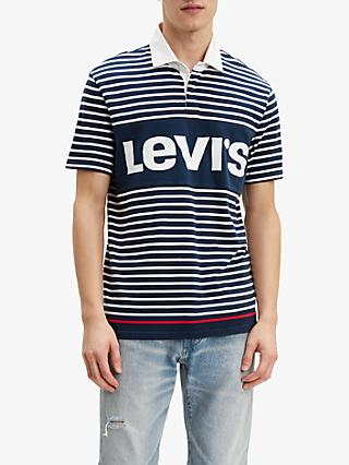 Levi's Mighty Blocked Short Sleeve Rugby Shirt, Blue/Marshmallow
