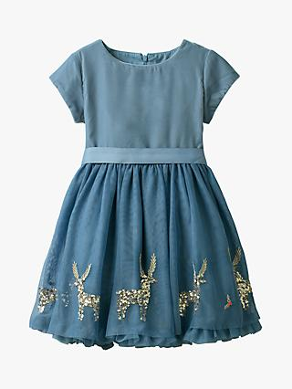 Mini Boden Girls' Velvet Applique Dress, Blue