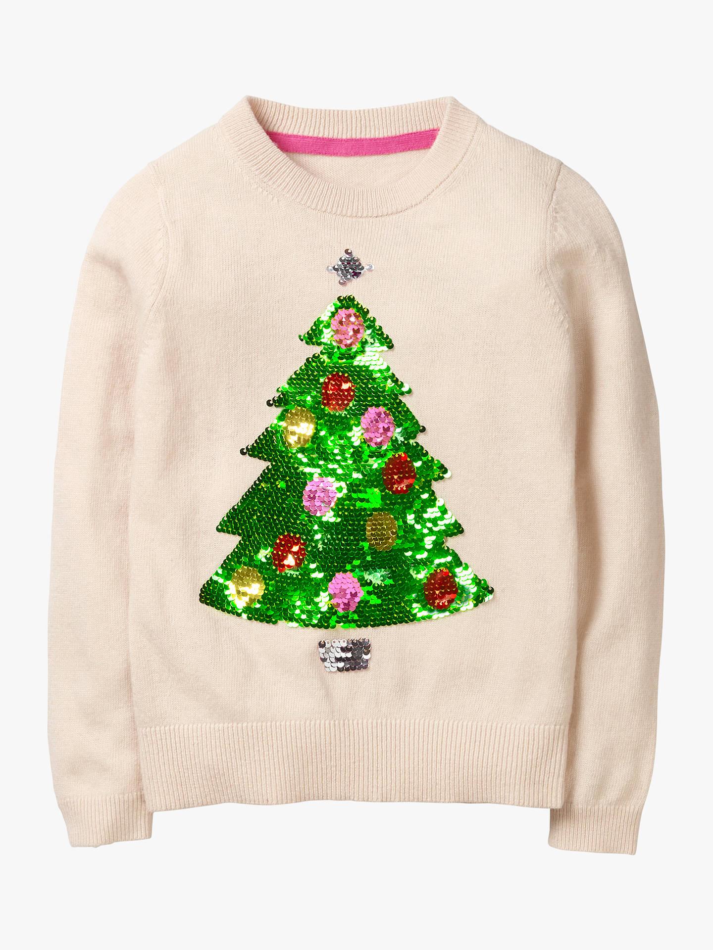 Mini Boden Girls\' Sequin Christmas Tree Jumper, Oatmeal at John ...