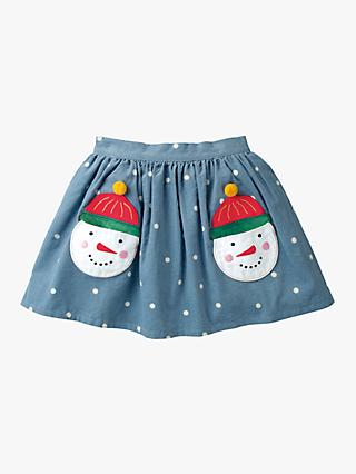 Mini Boden Girls' Snowman Pocket Skirt, Blue