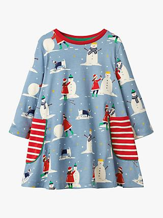 Mini Boden Girls' Winter Printed Tunic, Boathouse Blue