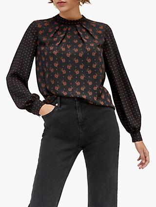 Warehouse Heart Neck Top, Black