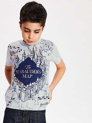 Harry Potter Boys' Marauders Map Print T-Shirt, Grey