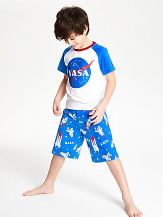 NASA Boys' Short Pyjamas, Blue/White
