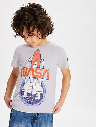 Nasa Boys' Print T-Shirt, Grey