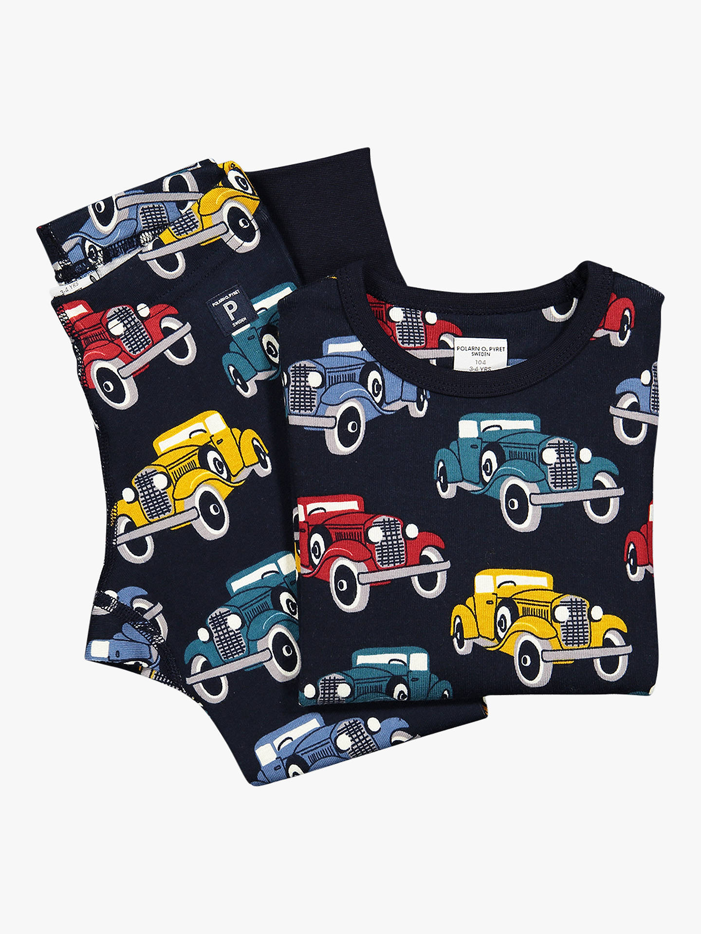 BuyPolarn O. Pyret Baby Car Print Leggings, Blue, 6-9 months Online at johnlewis.com