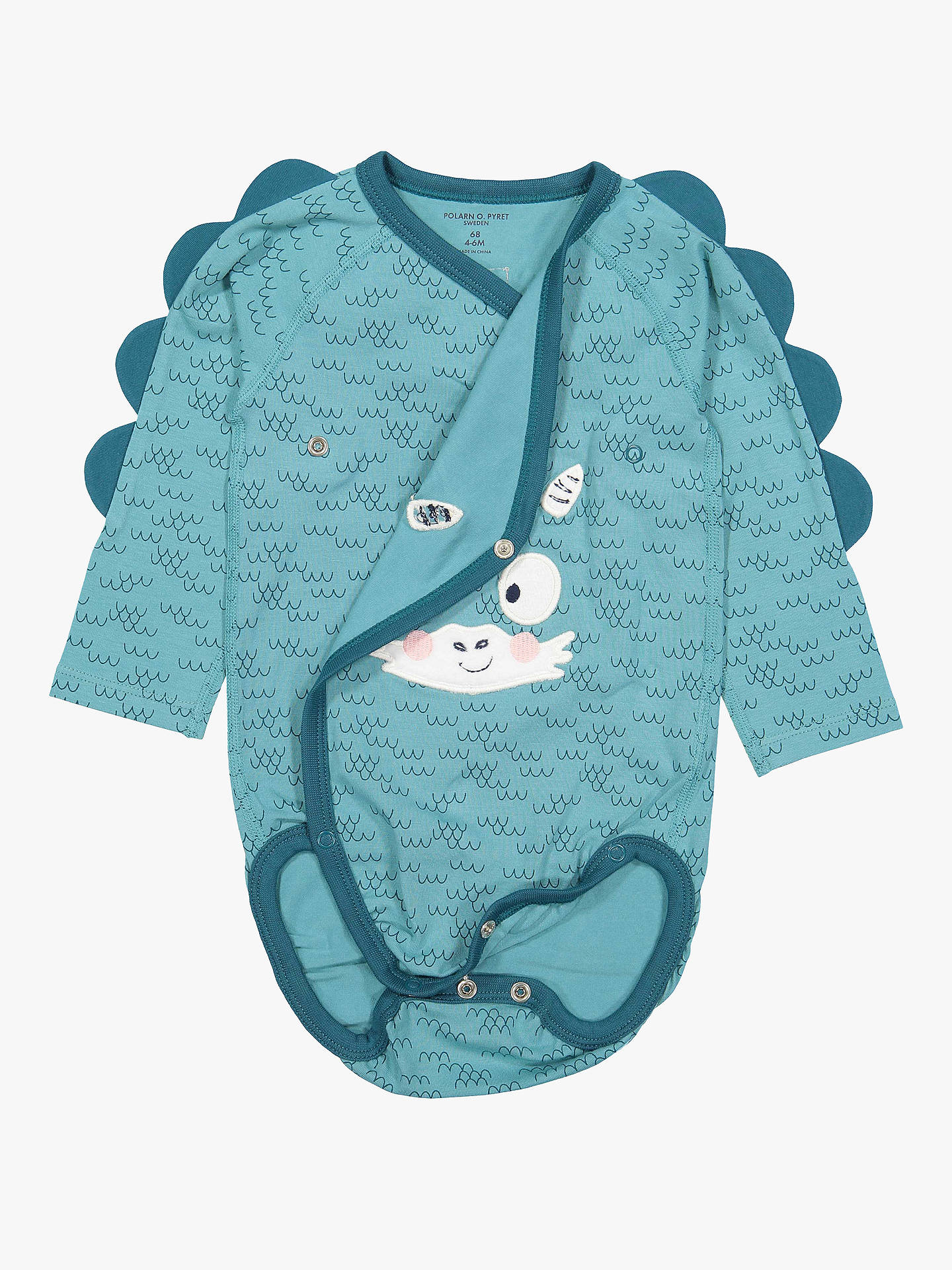 Buy Polarn O. Pyret Baby Dragon Bodysuit, Blue, 0-1 months Online at johnlewis.com