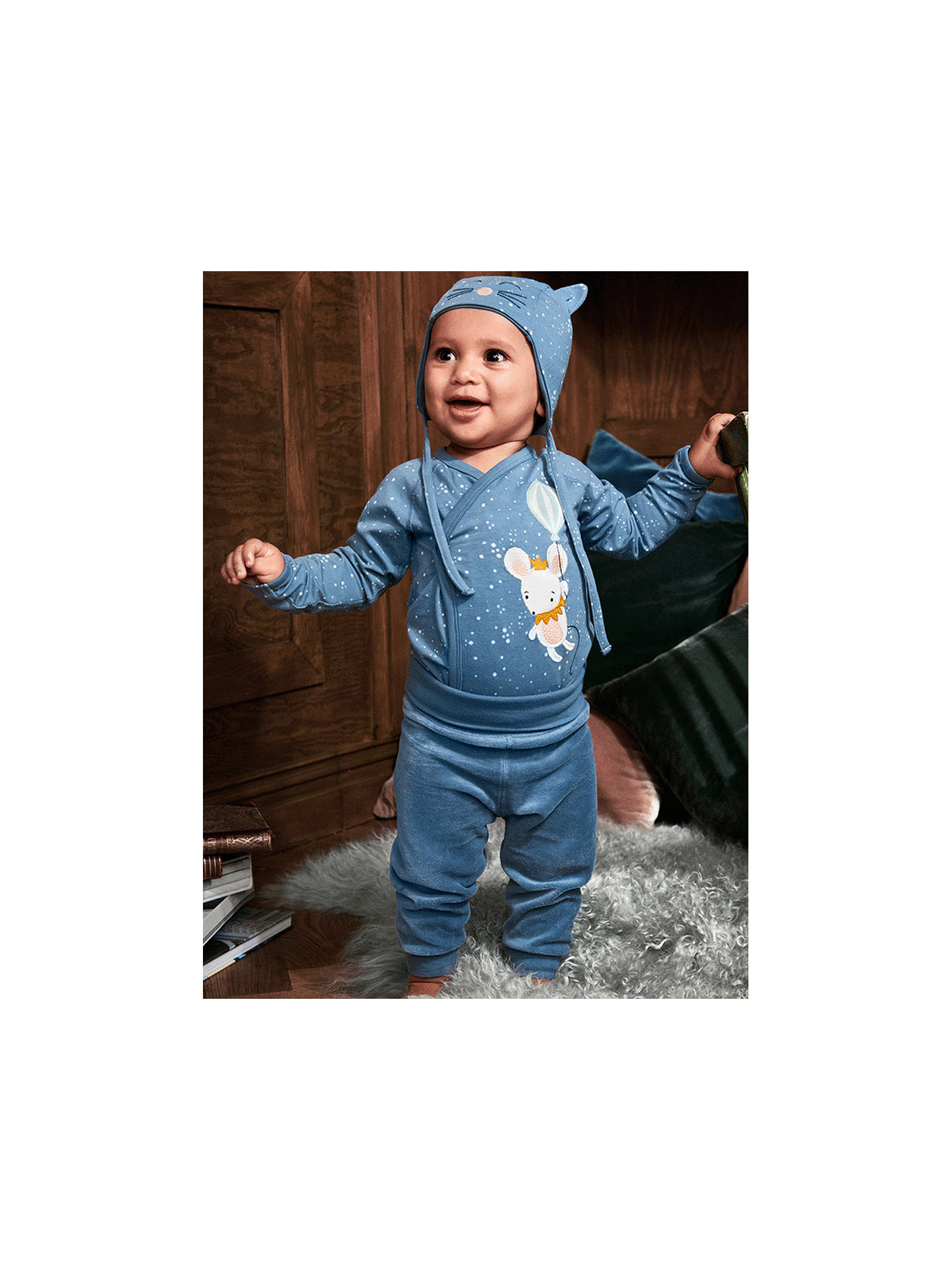 Buy Polarn O. Pyret Baby Mouse Bodysuit, Blue, 0-1 months Online at johnlewis.com