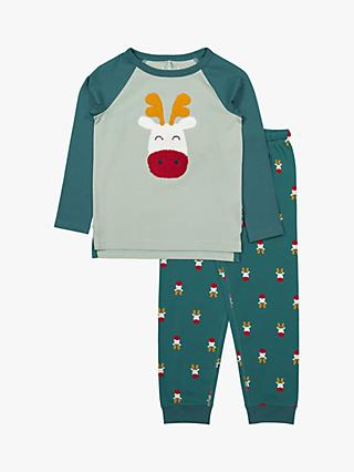 Polarn O. Pyret GOTS Organic Cotton Children's Reindeer Pyjamas, Blue