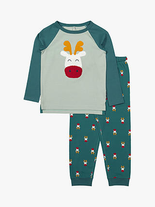 Buy Polarn O. Pyret Baby GOTS Organic Cotton Reindeer Pyjamas, Blue, 12-24 months Online at johnlewis.com