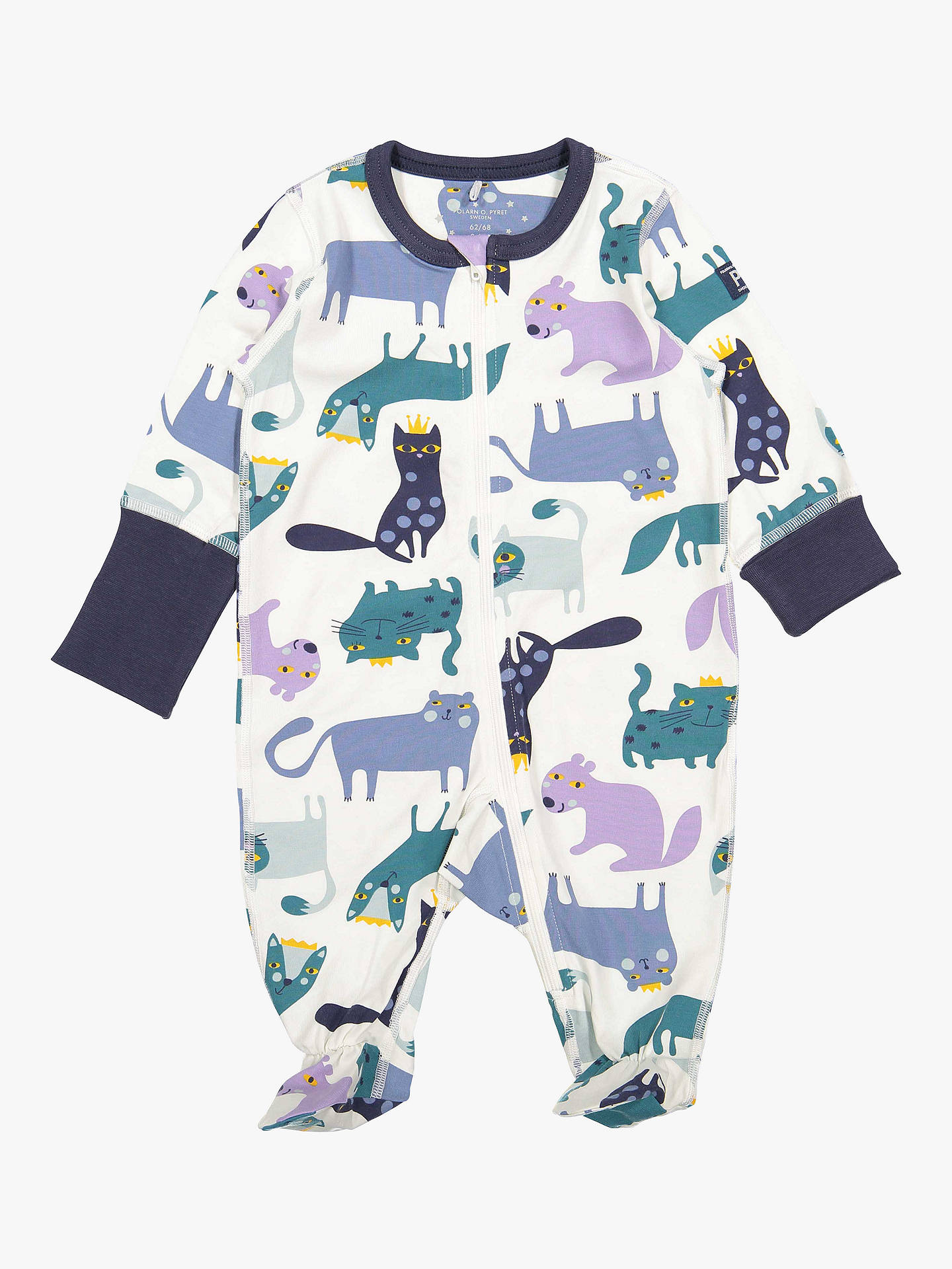 Buy Polarn O. Pyret GOTS Organic Cotton Baby Cat Onesie, Neutral, 0-2 months Online at johnlewis.com