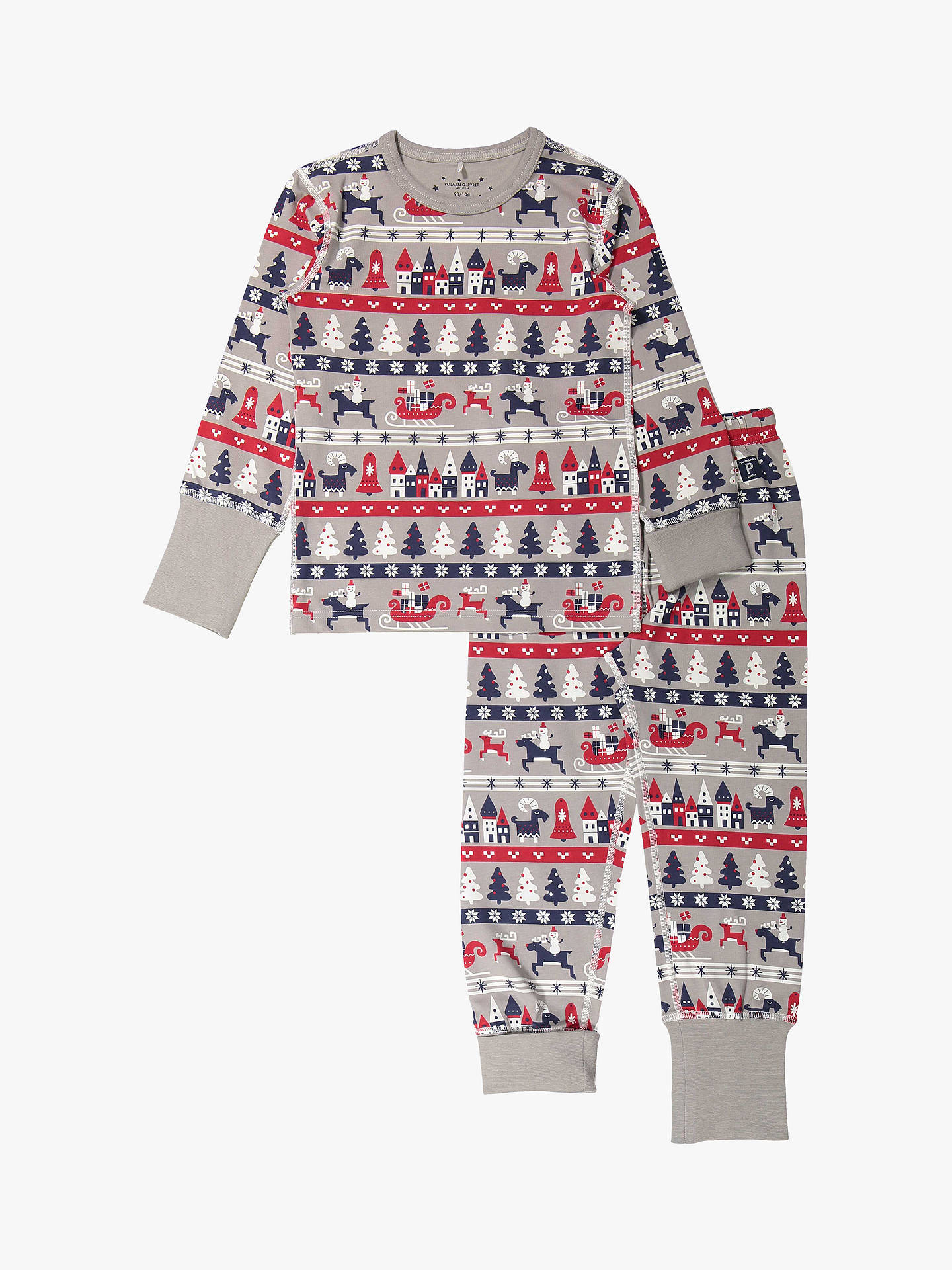 Buy Polarn O. Pyret Baby GOTS Organic Cotton Xmas Pyjamas, Grey, 12-24 months Online at johnlewis.com
