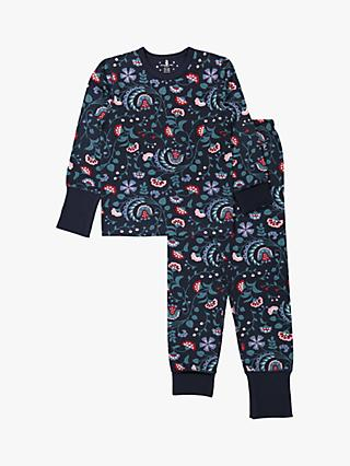 Polarn O. Pyret Children's Floral Pyjama Set, Blue