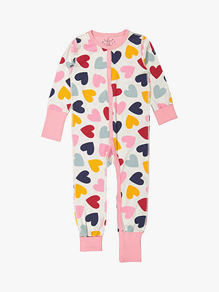 Buy Polarn O. Pyret GOTS Organic Cotton Children's Heart Onesie, Pink, 2-4 years Online at johnlewis.com