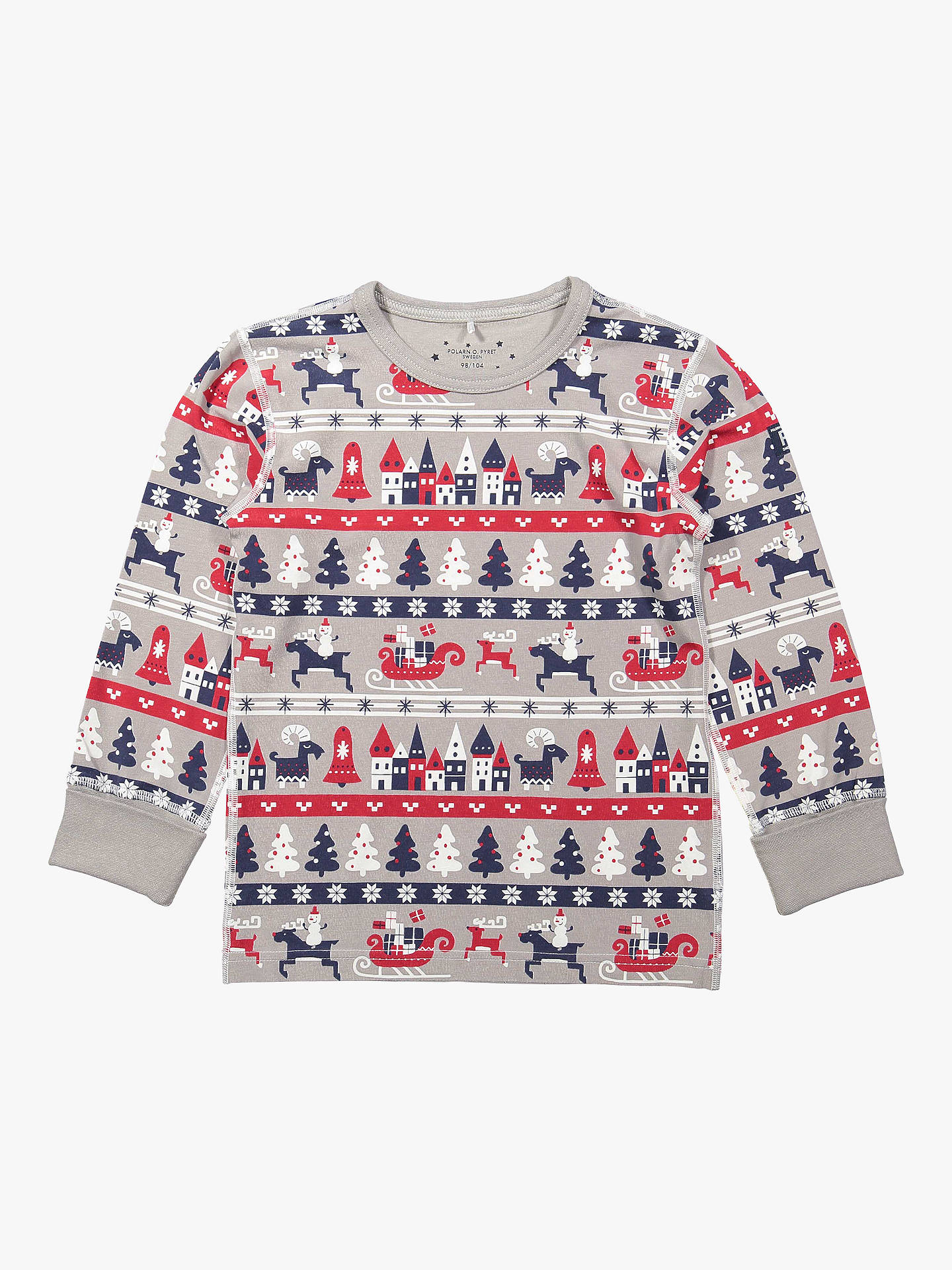 BuyPolarn O. Pyret Children's GOTS Organic Cotton Christmas Pyjamas, Grey, 2-4 years Online at johnlewis.com