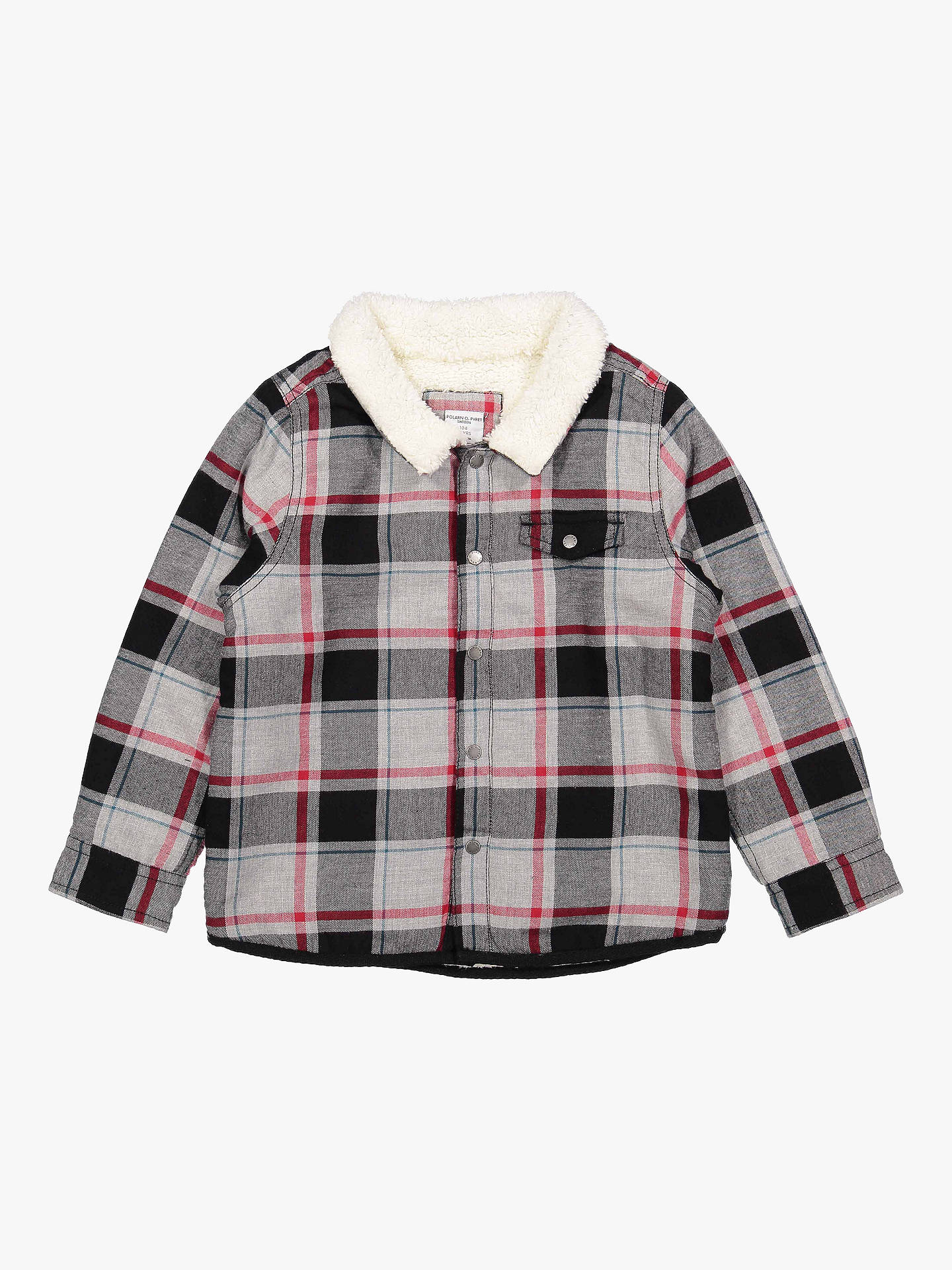 BuyPolarn O. Pyret Baby Fleece Collar Check Shirt, Grey, 6-9 months Online at johnlewis.com