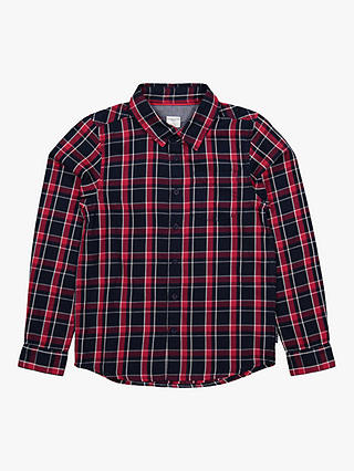Buy Polarn O. Pyret Children's Organic Cotton Check Shirt, Blue, 9-10 years Online at johnlewis.com
